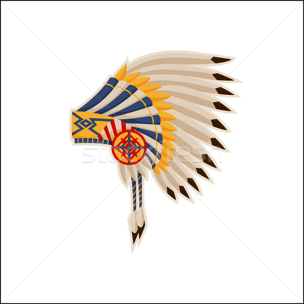Native American Headdress Pattern Vector Icon Stock photo © robuart