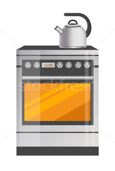 Foto stock: Brillante · metálico · cocina · estufa · moderna