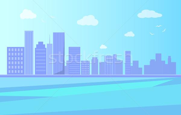 Város tájkép folyó felhőkarcolók vektor napos idő Stock fotó © robuart