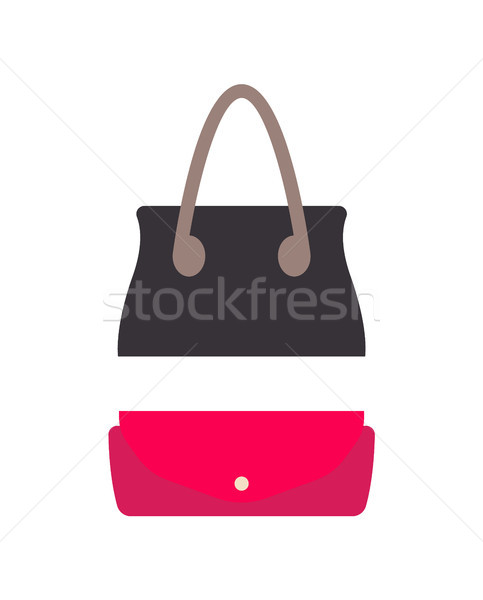 スタイリッシュ 女性 革 ハンドバッグ 小 財布 ストックフォト © robuart