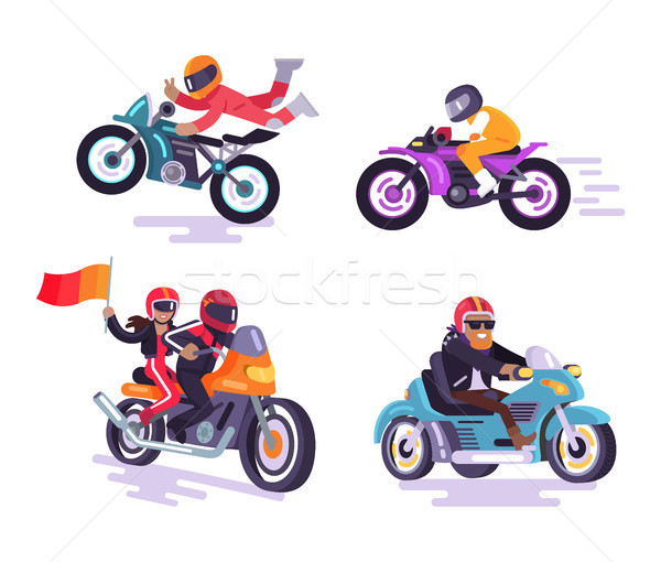 Bikers Banner Extreme Hobby Vector Illustration Stock photo © robuart