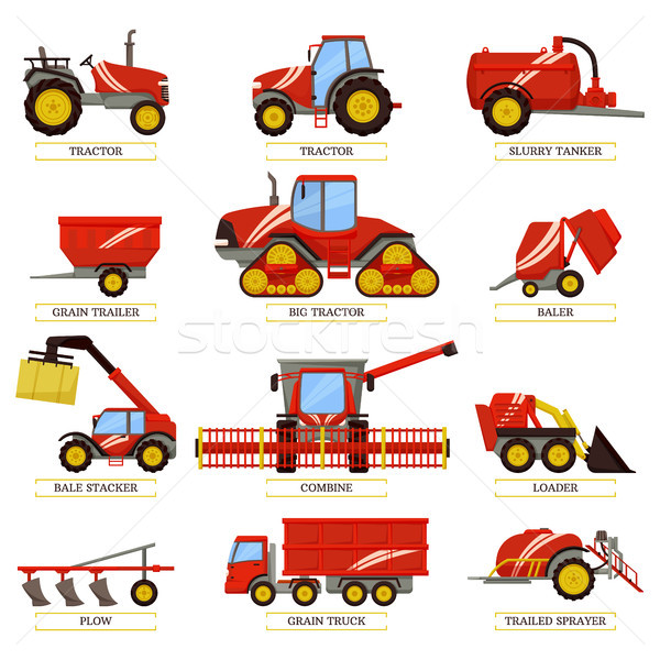 Agricultural Machinery to Collect Harvest Set Stock photo © robuart