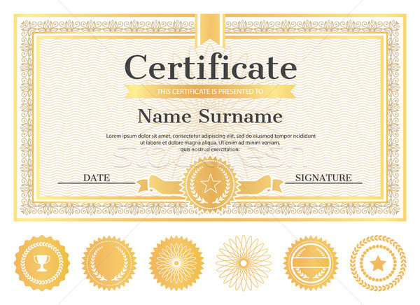 Photo stock: Certificat · échantillon · lieu · nom · date · signature