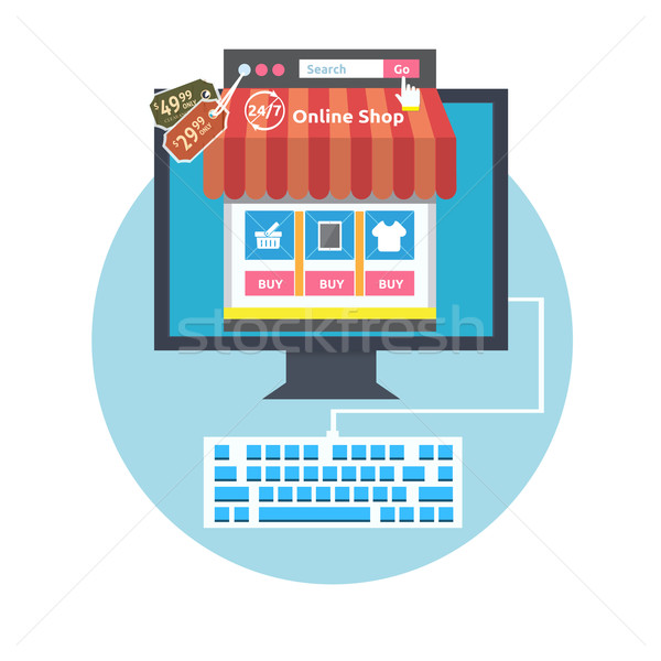 Internet-Shopping Prozess Business online Verkauf Symbole Stock foto © robuart