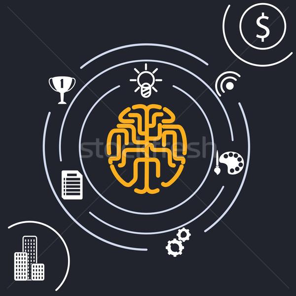 Gehirn Analyse Idee Teile verantwortlich menschlichen Stock foto © robuart