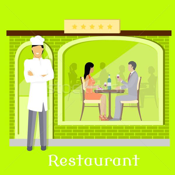 Urbaine restaurant façade clientèle intérieur alimentaire Photo stock © robuart