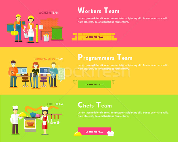 Programmers Team. Workers People. Chefs Group Stock photo © robuart