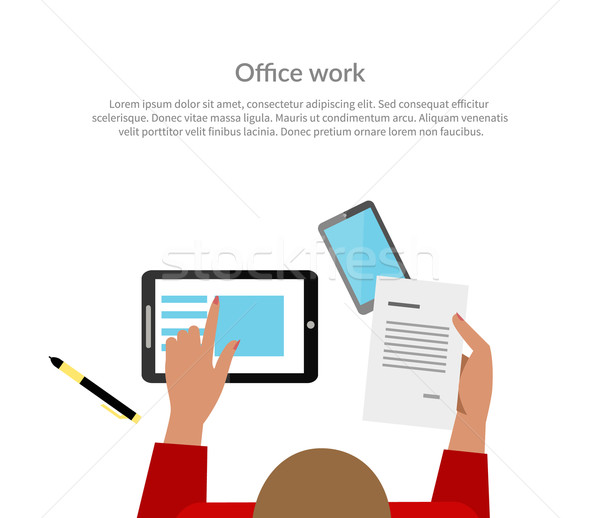 Ofis işleri üst görmek afiş dizayn kadın Stok fotoğraf © robuart