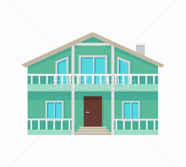 Residencial casa terraza verde colores dos Foto stock © robuart