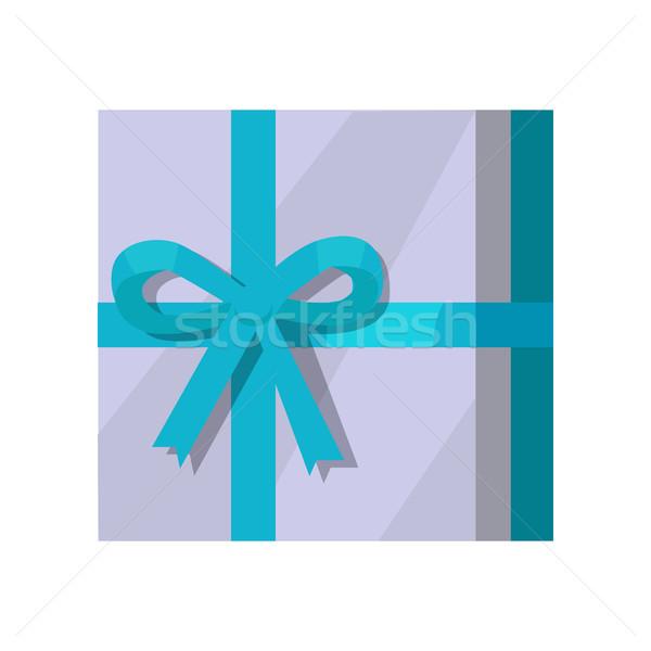 Zilver geschenkdoos groene lint grijs ontwerp Stockfoto © robuart