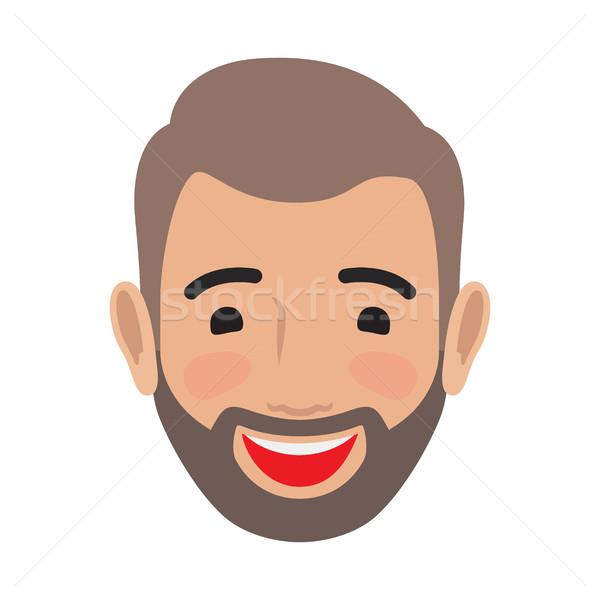 Emotion Avatar Man Happy Successful Face. Vector Stock photo © robuart