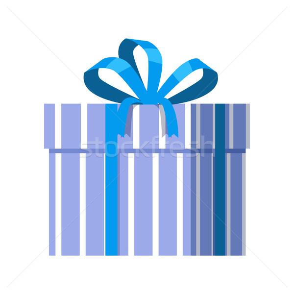 Stockfoto: Blauw · geschenkdoos · lint · ontwerp · mooie · aanwezig