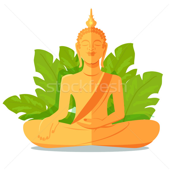 Buddha Golden Statue in front of Green Big Leaves Stock photo © robuart