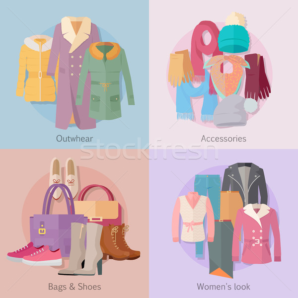 Outwear Accesoiries Bags Shoes Womens Look banner Stock photo © robuart