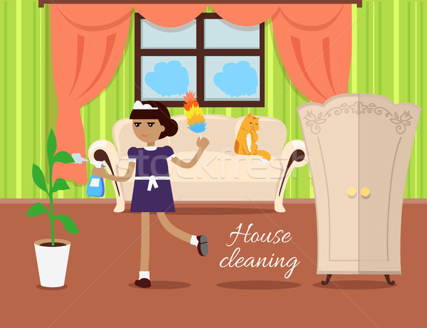 House Cleaning Concept Vector In Flat Design Stock photo © robuart