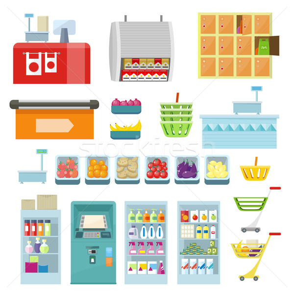 Set of Trading Equipment for Supermarket Vector. Stock photo © robuart