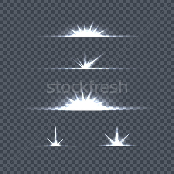 Set of Bright Lights on Transparency. Glow Flash Stock photo © robuart