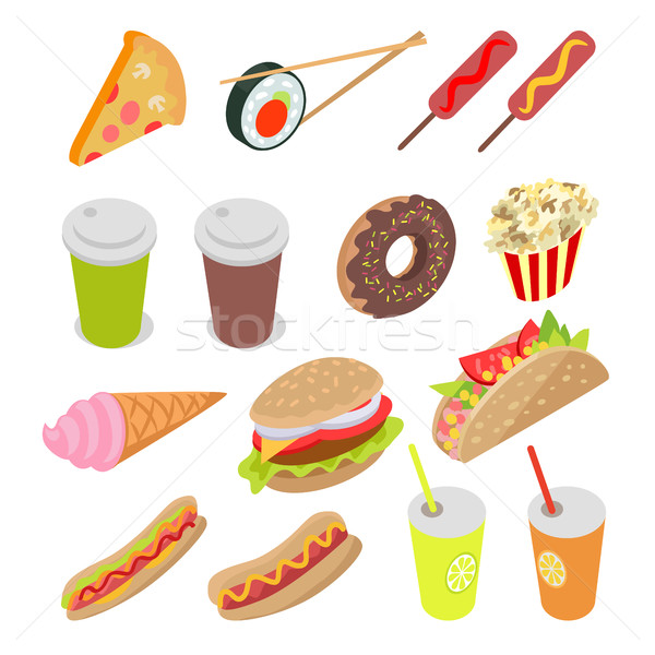 Unhealthy Food and Drinks Set. Vector Illustration Stock photo © robuart