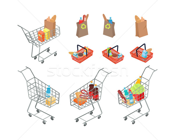Variety of Bags and Trolleys in Supermarket. Stock photo © robuart