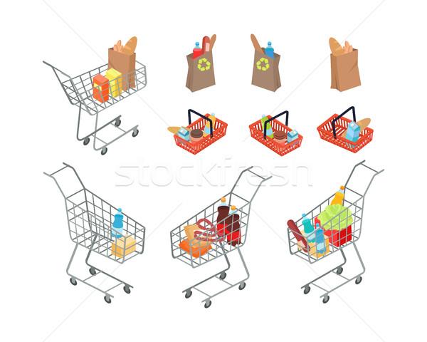 Variëteit zakken supermarkt mensen kan Stockfoto © robuart