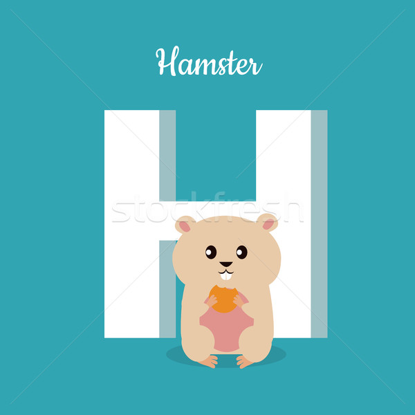 Hamster with letter H isolated on blue. Alphabet. Stock photo © robuart