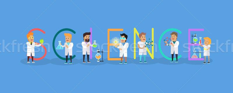 Wetenschap vector ontwerp stijl wetenschapper Stockfoto © robuart