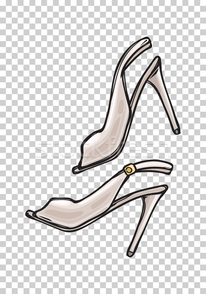 Donne scarpe open toe cartoon arte Foto d'archivio © robuart