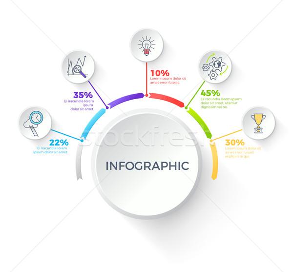 Infografica bianco pulsante percentuali in giro buio Foto d'archivio © robuart