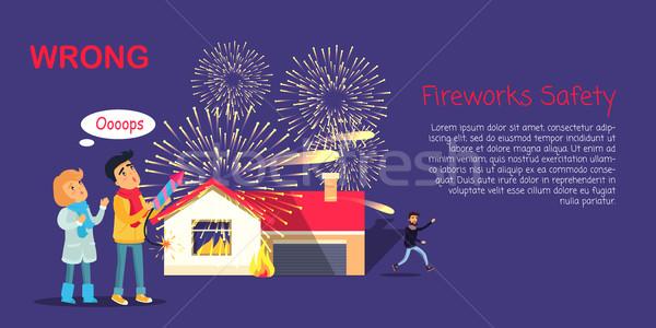 Tűzijáték biztonság téves pirotechnika gyerekek kint Stock fotó © robuart
