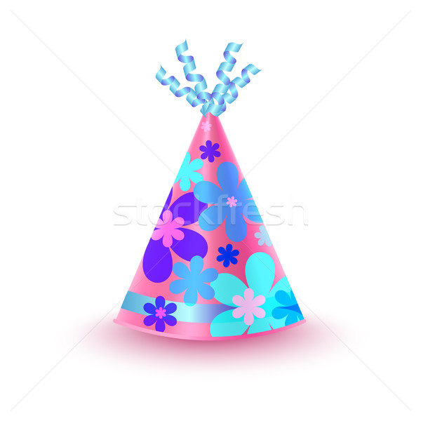 Flowery Decorated Pink Party Hat Vector Icon Stock photo © robuart