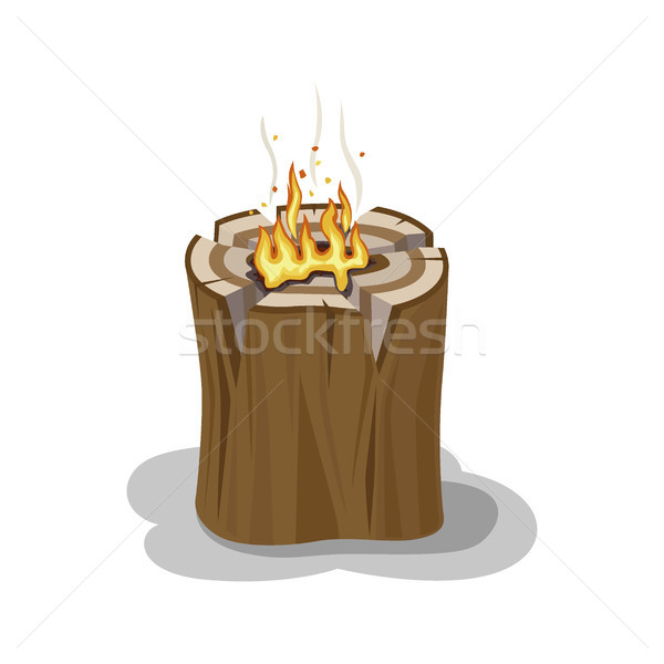 Alight Stump Isolated Illustration. Firewood Element Stock photo © robuart