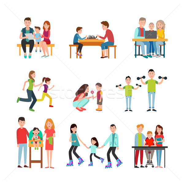 Parents Spend Time with Children Illustrations Set Stock photo © robuart