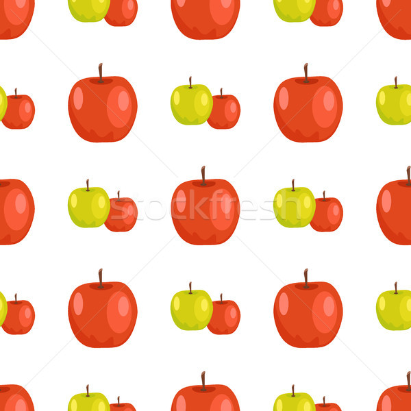 Red and Green Apples Seamless Pattern Tasty Fruits Stock photo © robuart