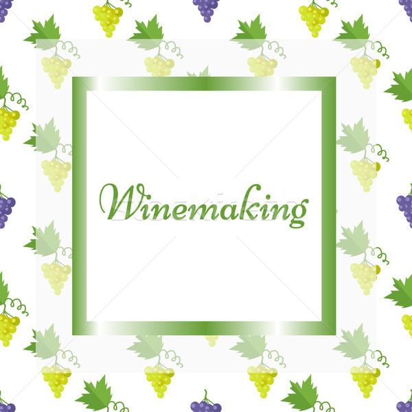 Winemaking Poster in Square Frame with Pattern Stock photo © robuart