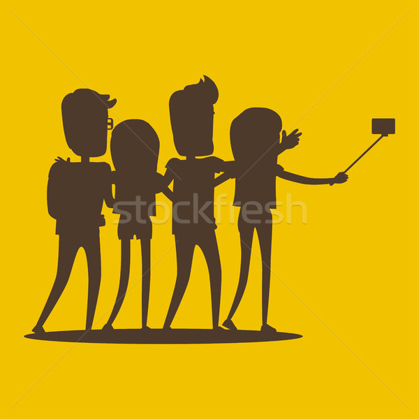 Silhouettes of Young Modern People Pose for Selfie Stock photo © robuart
