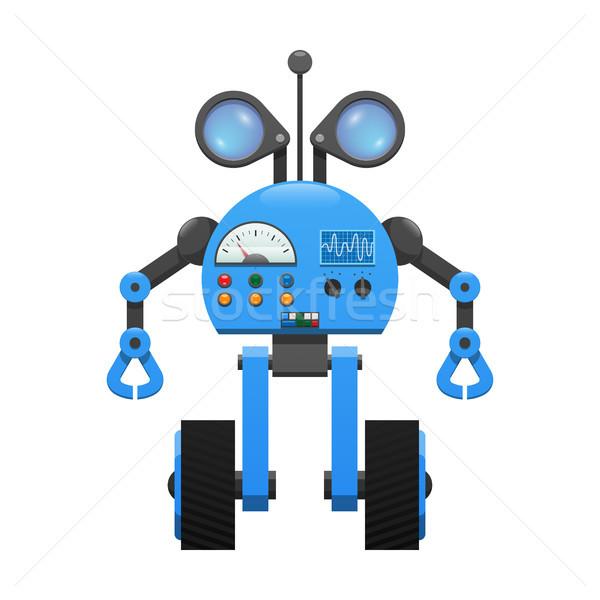 Robot kerekek kém lencsék irányítópanel színes Stock fotó © robuart