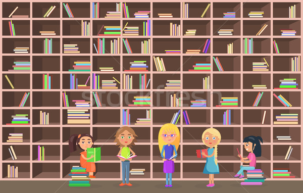 Children in Library Read Books Beside Bookcase Stock photo © robuart