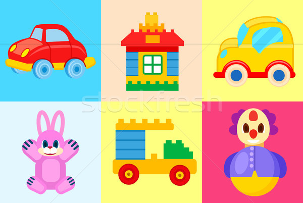 Toys Collection Isolated on Colorful Backgrounds Stock photo © robuart