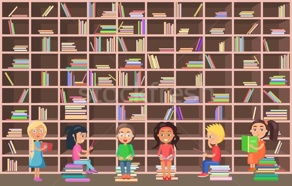 детей библиотека читать книгах книжный шкаф Сток-фото © robuart
