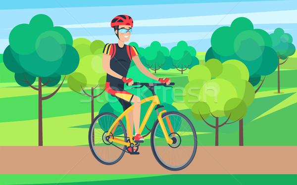 Uomo ciclismo abbigliamento bicicletta illustrazione casco Foto d'archivio © robuart