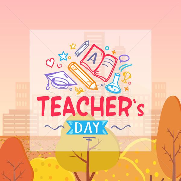 Teachers Day and Autumn on Vector Illustration Stock photo © robuart