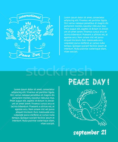 Peace Day Symbols Pigeon with Olive Branch Tree Stock photo © robuart