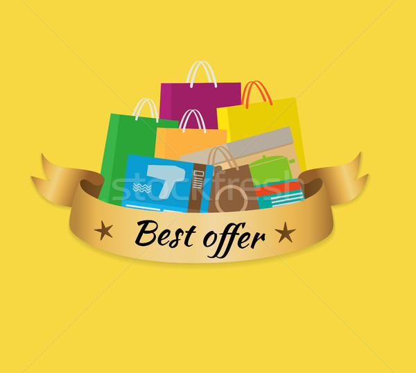 Best Offer Banner with Isolated Stack of Purchases Stock photo © robuart
