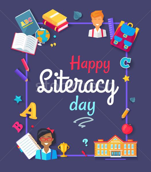 Heureux alphabétisation jour fournitures scolaires écolier Photo stock © robuart