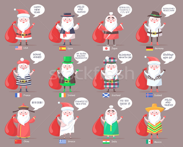 Santa Clauses from Countries All Over World Stock photo © robuart