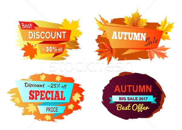 Najlepszy zniżka jesienią sprzedaży zestaw cztery Zdjęcia stock © robuart