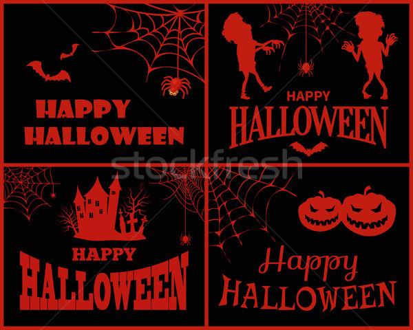 Stock fotó: Boldog · halloween · gyűjtemény · plakátok · ikonok · pókok