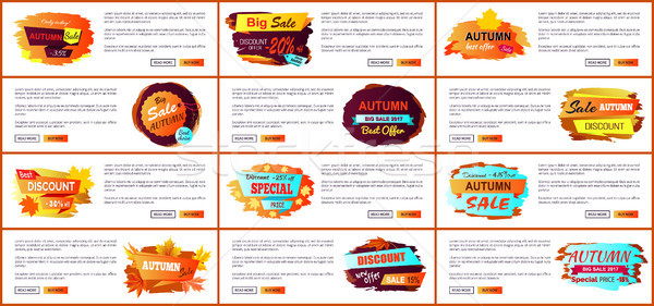Big Set of Fall Autumn Sale Web Posters Promo Ads Stock photo © robuart