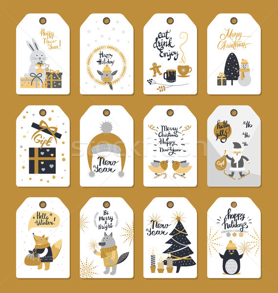 Merry Christmas Colourful Label Badges with Wishes Stock photo © robuart