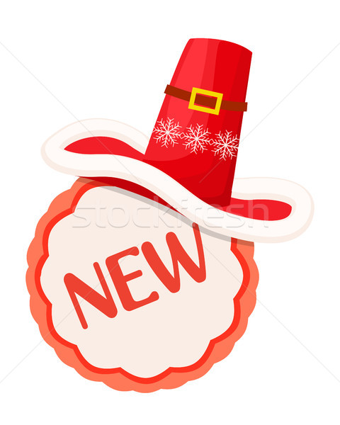 New Round Label with Red Contour and Santa Hat Stock photo © robuart